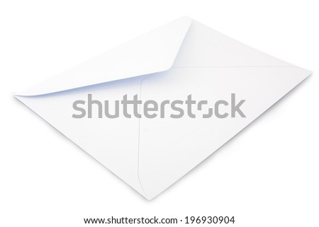 White letter envelope on a white  ackground
