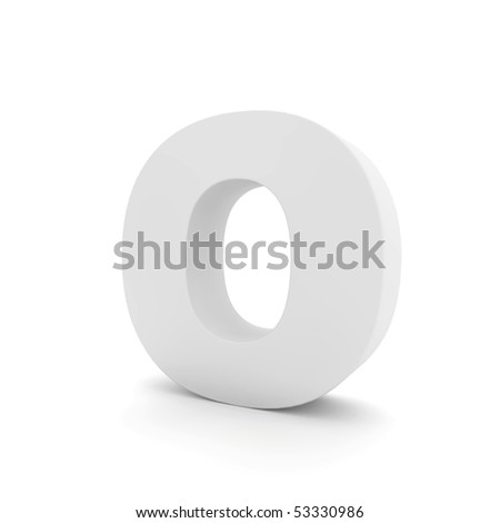 white letter O isolated on white - stock photo