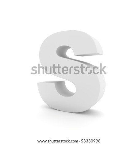 white letter S isolated on white - stock photo