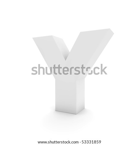 white letter Y isolated on white - stock photo