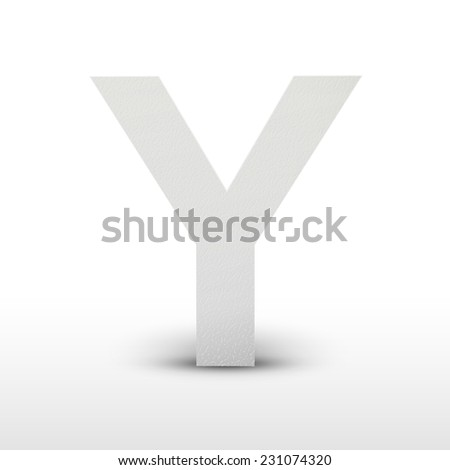 white letter Y isolated on white background