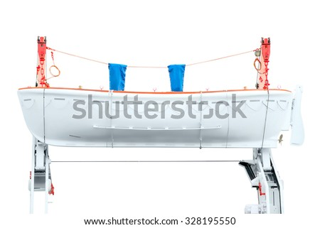 White lifeboat on the red davit isolated on white with clipping path