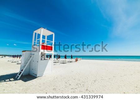 white lifeguard hut in La Cinta beach, Sardinia - stock photo