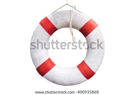 White Lifesaving Float on white Background - stock photo