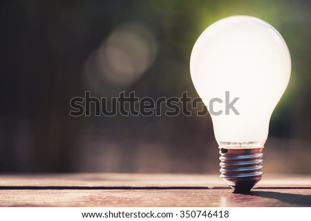 White light bulb in sunlight with blurred green forest on background - stock photo