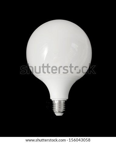 White light bulb on a black background