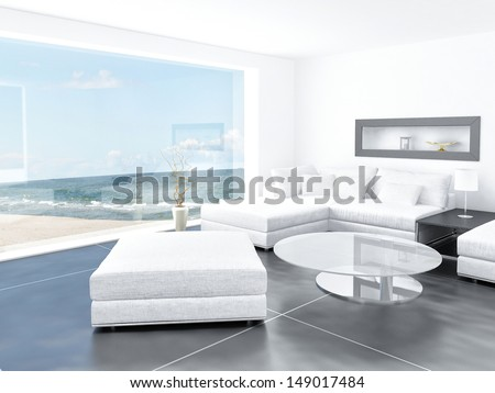 White light living room interior with seascape beach view - stock photo