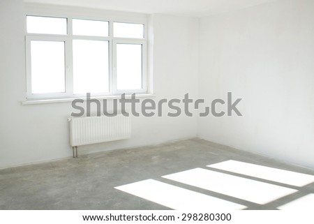 White light room with window - stock photo