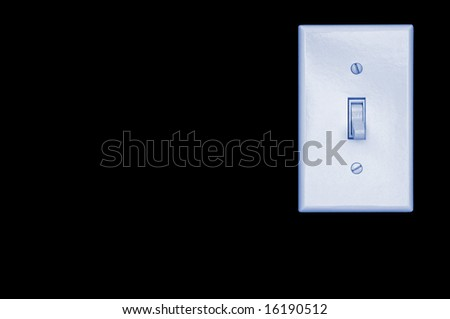 White light switch on black background with copy space