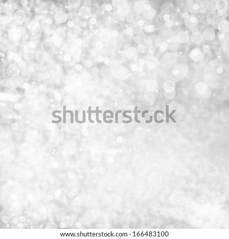 White Lights on grey background. Abstract natural blur defocussed background with sparkles, soft focus, greeting holiday card, festive frame, - stock photo
