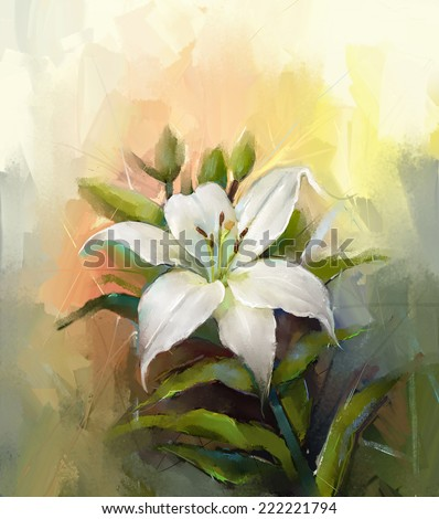 White lily flower.Flower oil painting    - stock photo