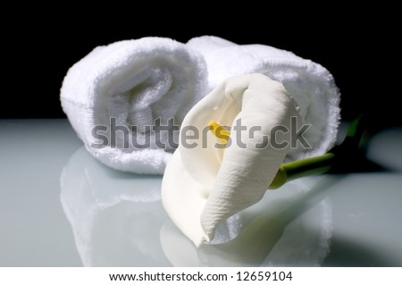 White lily flower with towels on glass - stock photo