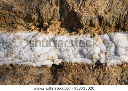White line of rock horizontal between rough brown rock background texture with swirls and natural pattern and design