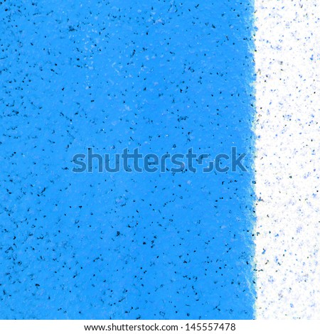 white line on blue track texture background - stock photo