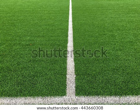 White line on grass green background - stock photo