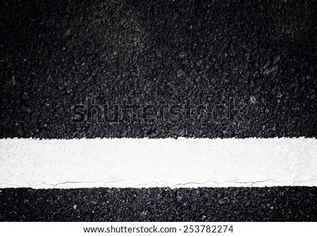 white line on the road texture background - stock photo