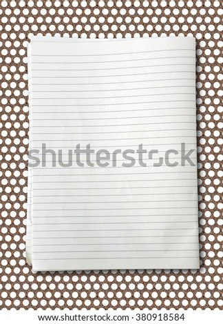 white lined sheet of notepad paper on rusty steel - stock photo