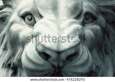 White lion sculpture. Toned. Head, close-up