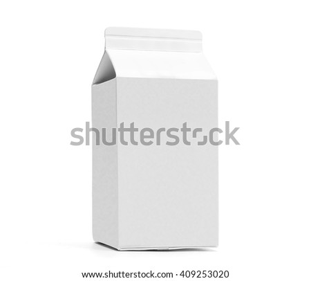 White 0.5 liter milk box with gable. Low angle shot with original shadow. Isolated on white without clipping path. - stock photo