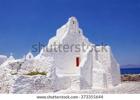white little chapel on the cyclade Island of Mykonos, Greece - stock photo