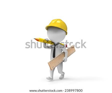White little man architect - stock photo