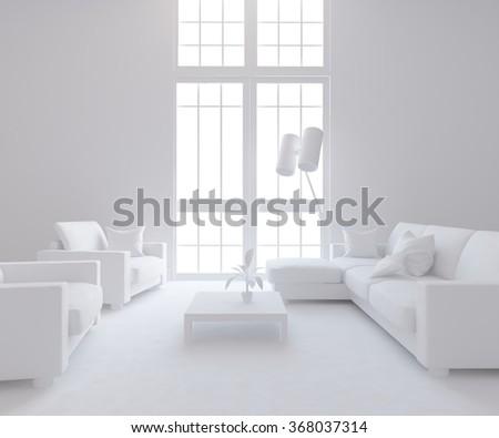 white living room. 3d concept - stock photo
