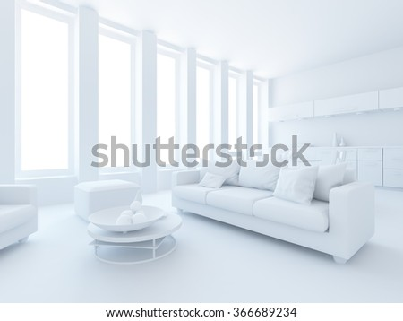 white living room interior. 3d concept - stock photo