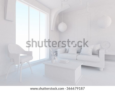 white living room interior.3d illustration