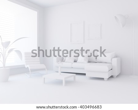 White living room interior. 3d illustration