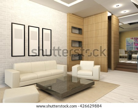 White living room interior in modern design, apartment living room interior with white furnitures, 3D rendering