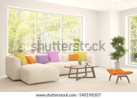 White Living Room Interior With Sofa And Green Landscape In Window.  Scandinavian Home Design. Part 64