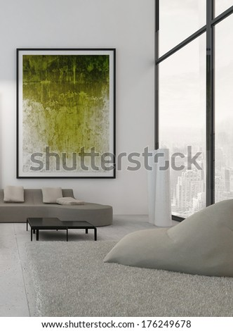 White living room interior with vibrant green decoration - stock photo