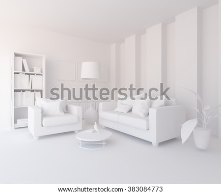 white living room. White interior. 3d illustration
