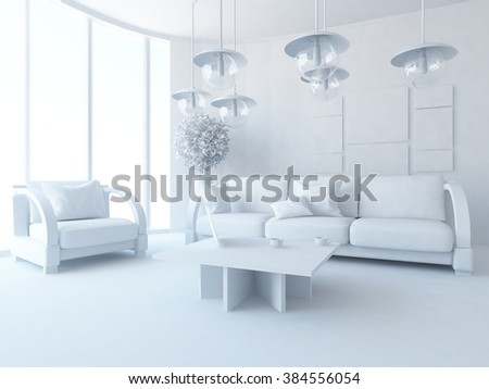 white living room. White interior.3d illustration