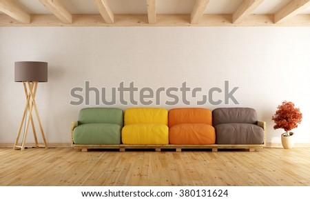 White living room with colorful pallet sofa and wodden ceiling - 3D Rendering - stock photo