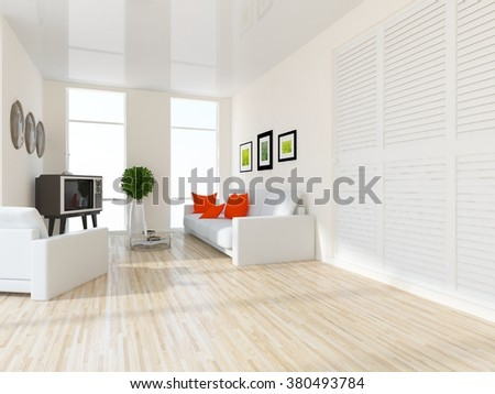 white living room with wardrobe. 3d illustration - stock photo