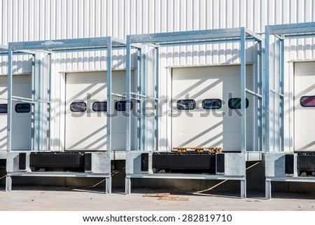 white loading dock under construction - stock photo