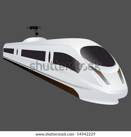 White locomotive on grey background - stock photo