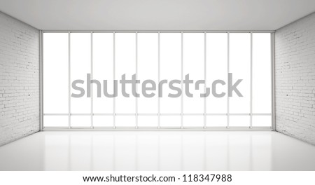 white loft and big window - stock photo