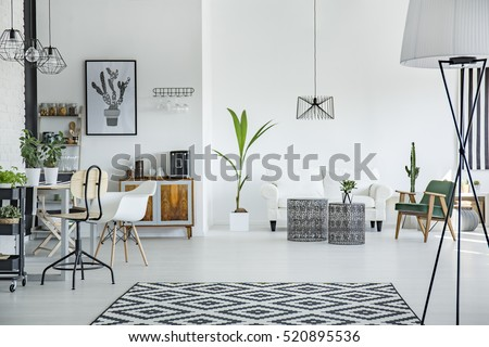white loft interior in style with pattern carpet