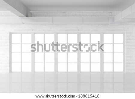 white loft interior with big window - stock photo