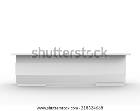 white long booth from front view. render - stock photo