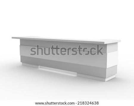 white long booth in perspective. render - stock photo