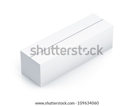 White long box. High resolution 3D illustration with clipping paths. - stock photo