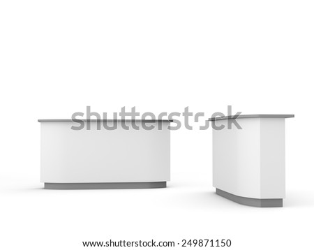 white long desk or counter from front and side view. render - stock photo