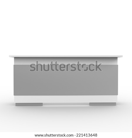 white long desk or counter from front view. render - stock photo