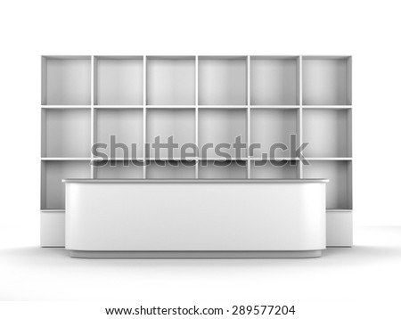 white long desk or counter with multiple square partitions shelf - stock photo