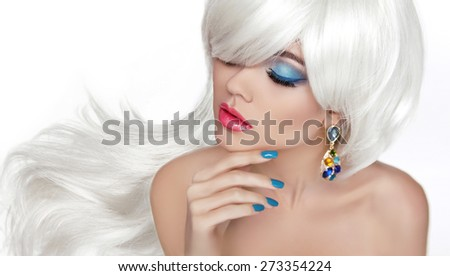 White Long hair. Eye makeup. Beautiful blond with fashion jewelry, sensual red lips, manicured nails isolated on white background. - stock photo