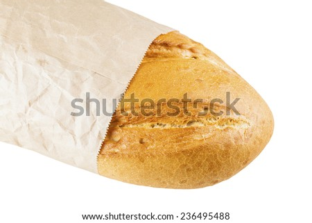 white long loaf in paper packing isolated on a white background