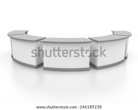 white long multi desks or counters from front view. render - stock photo